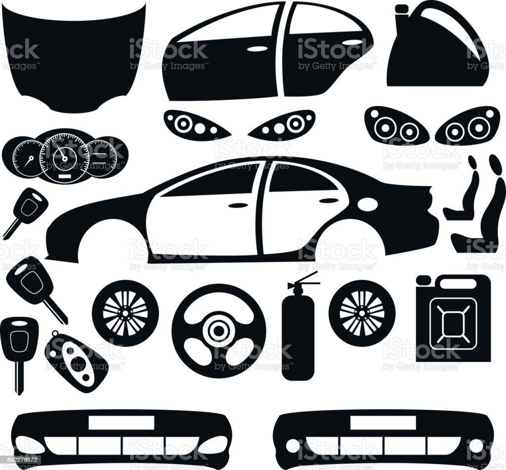 Car parts. Vector set. vector art illustration