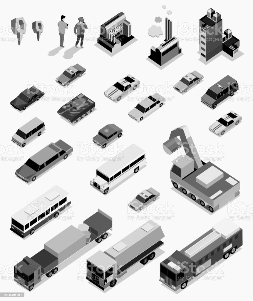 car, people and building isometric on black white color vector art illustration