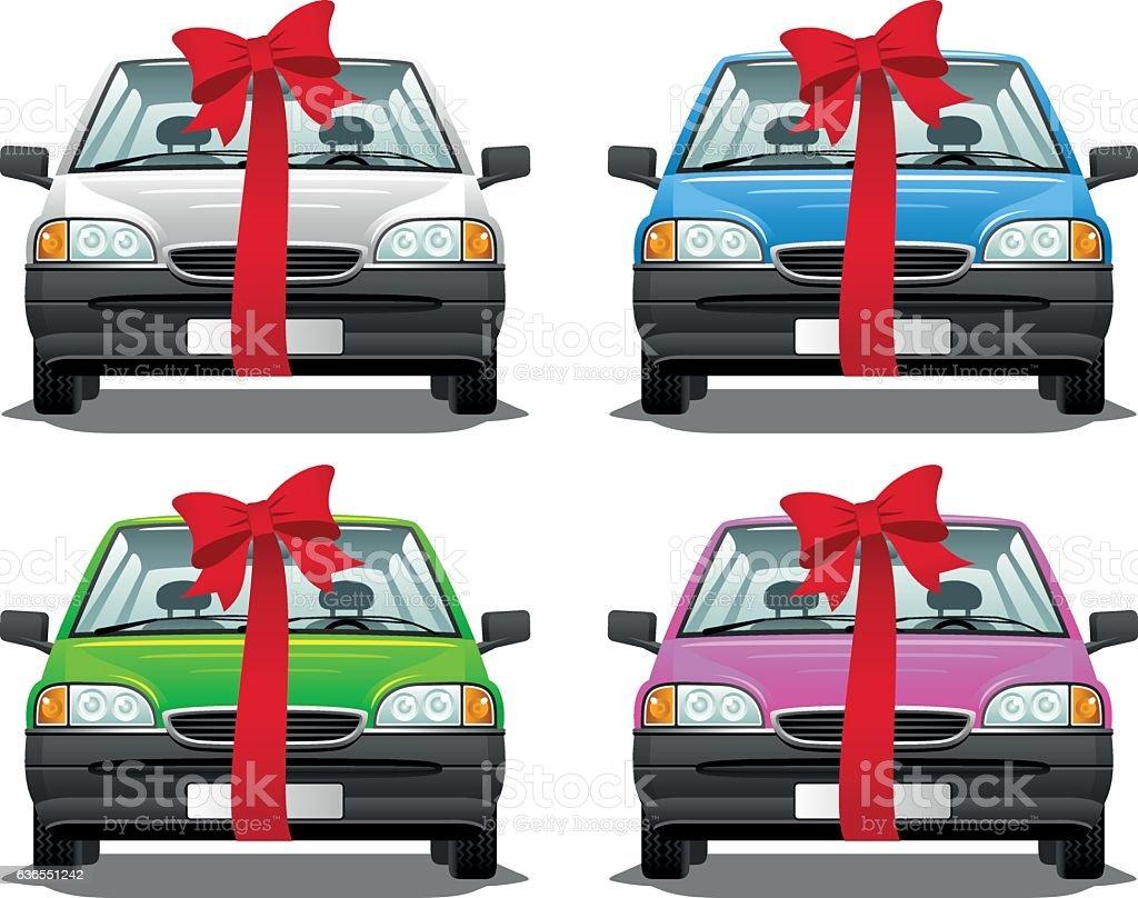 Car present vector art illustration