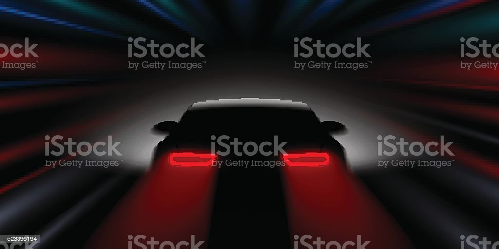 car quickly rushes in the dark rear view vector art illustration