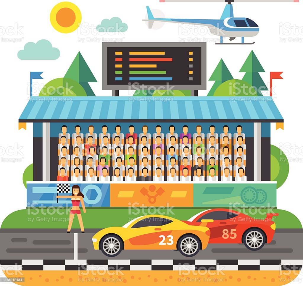 Car Race. Competition at the stadium vector art illustration