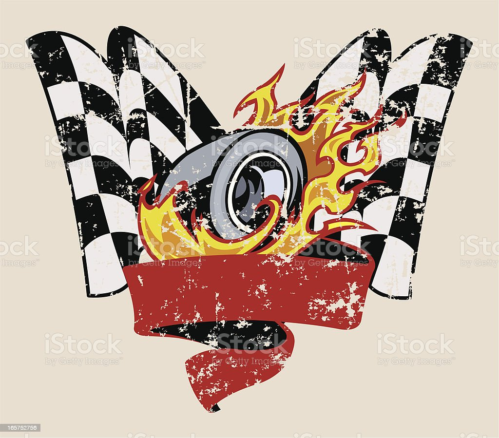 Car Race Graphic with Flaming Tire & Checkered Flag vector art illustration