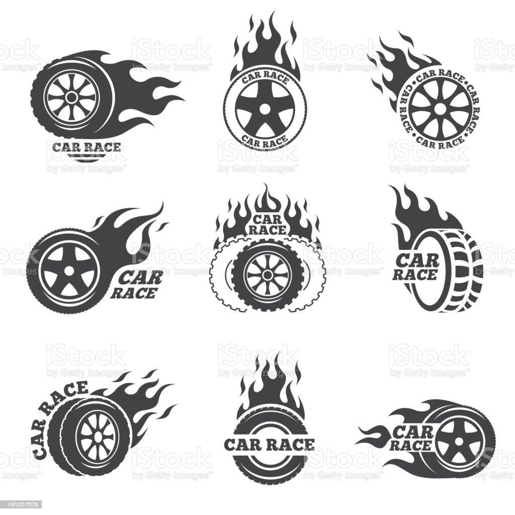 Car race logo set. Wheel with fire flame vector art illustration