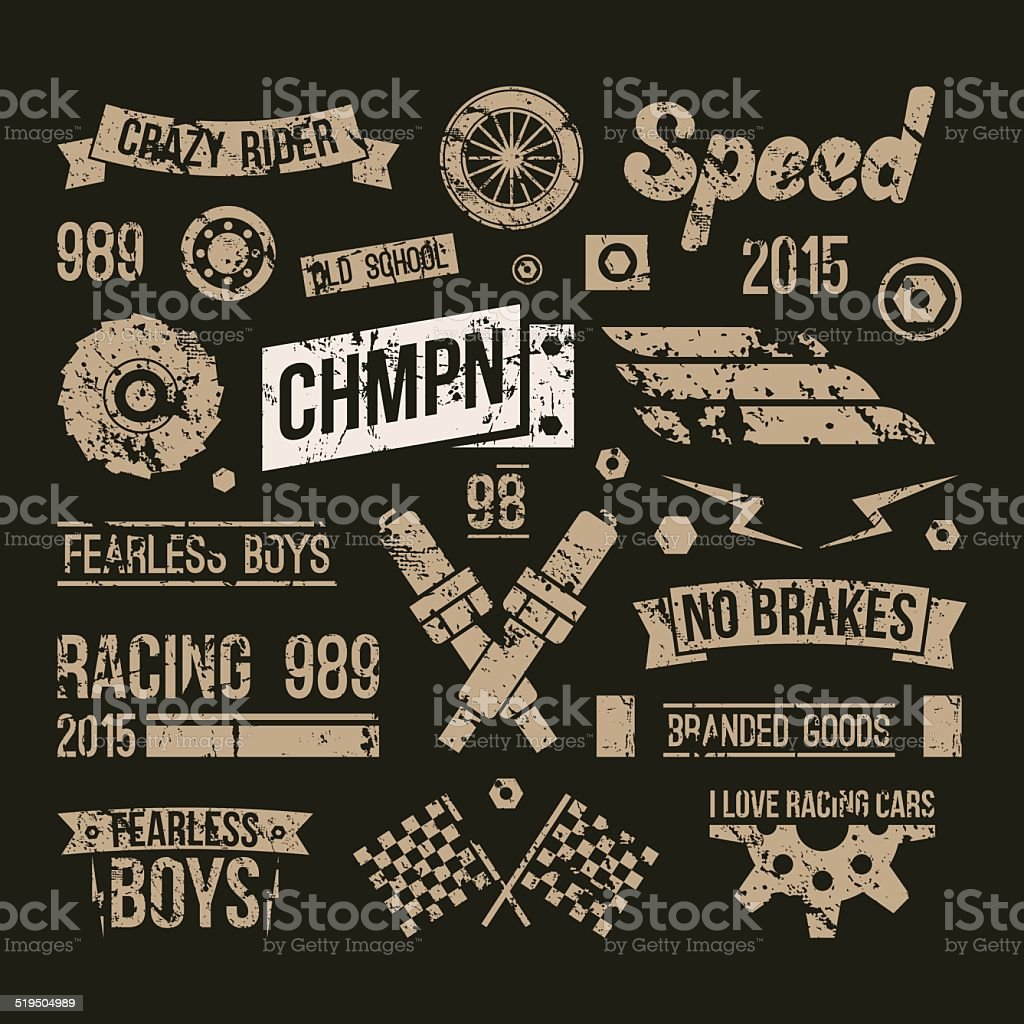 Car races club badges in retro style vector art illustration