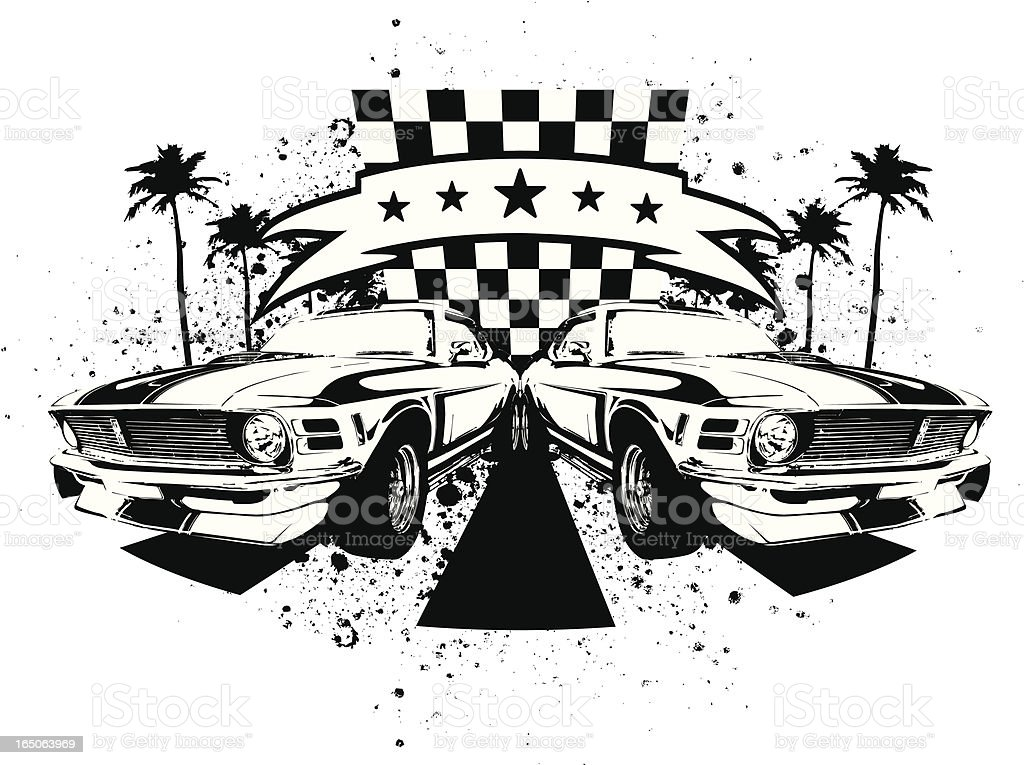 Car racing emblem muscle cars vector art illustration