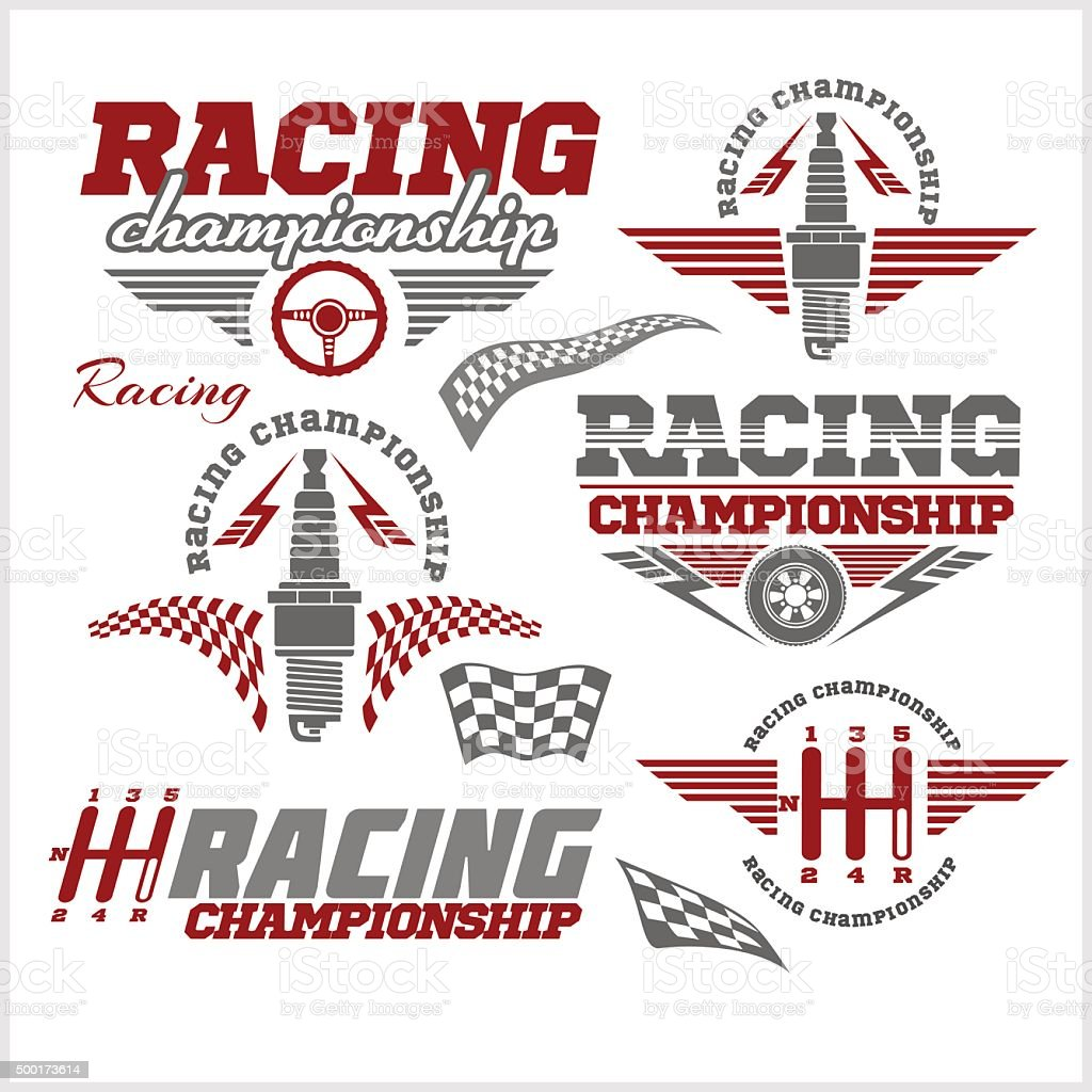 Car racing emblems and championship race vector badges vector art illustration