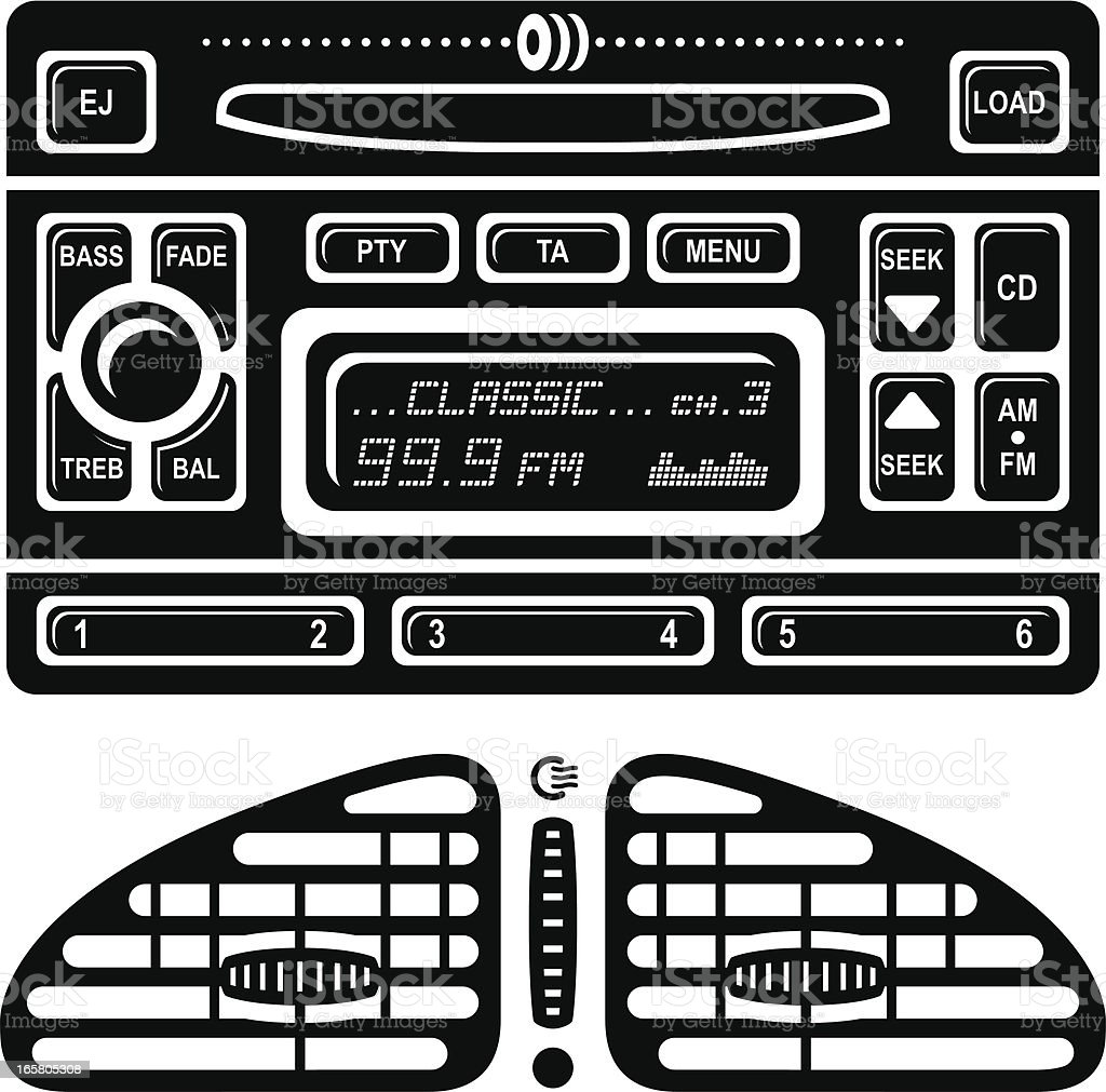 Car Radio Stereo and Air Vent Icons royalty-free stock vector art