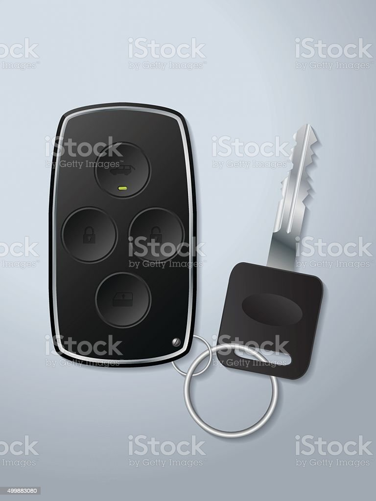 Car remote key with circle shaped buttons vector art illustration