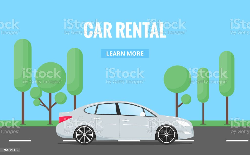 Car rent. Modern automobile in trendy style with typography for advertisement, web projects etc. Banner of car rental concept. vector art illustration