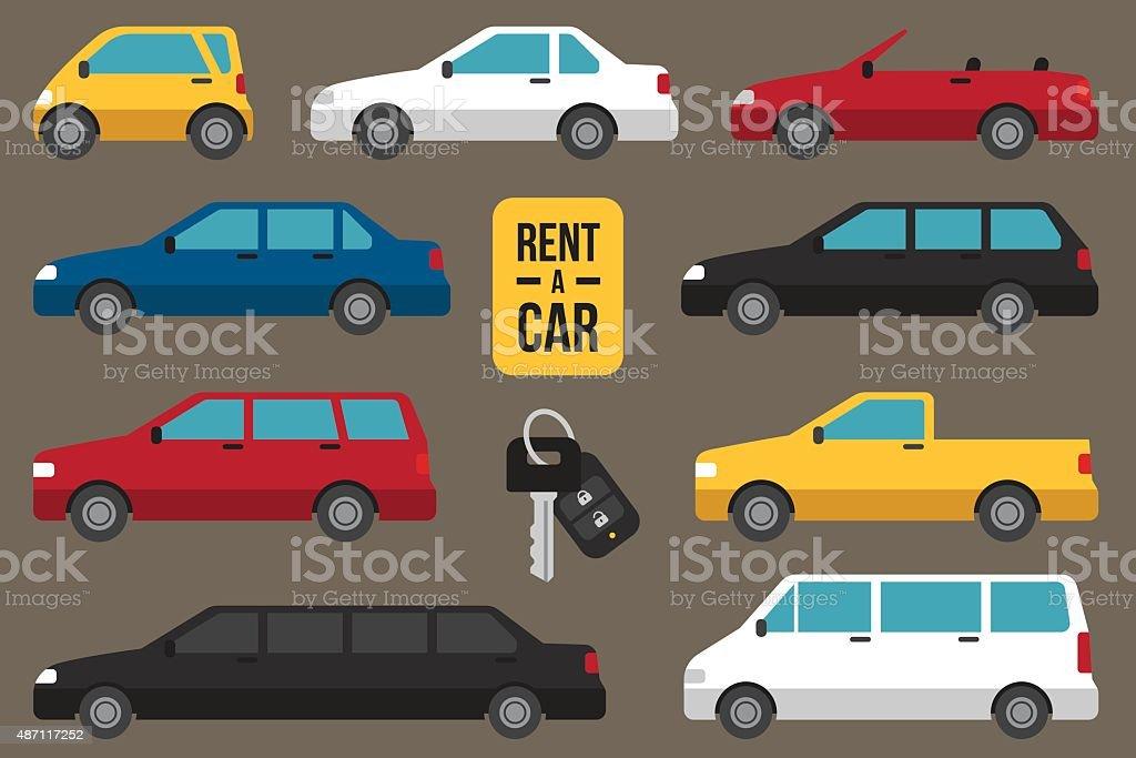Car rent types vector art illustration