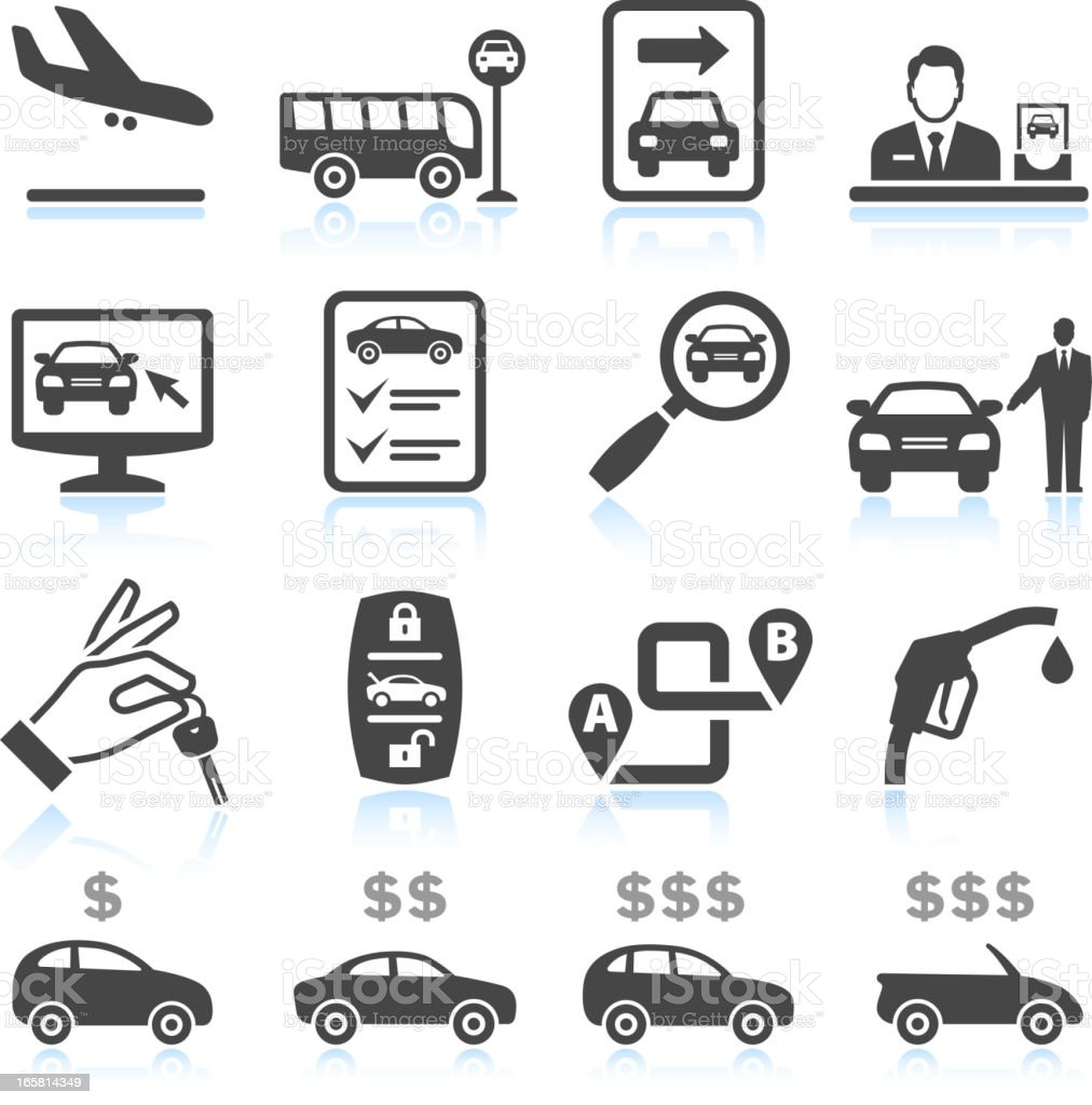 Car Rental black & white royalty free vector icon set royalty-free stock vector art