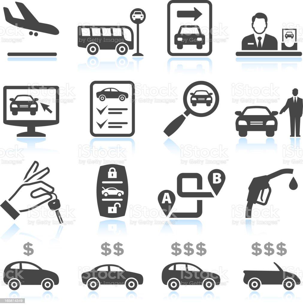 Car Rental black & white royalty free vector icon set vector art illustration