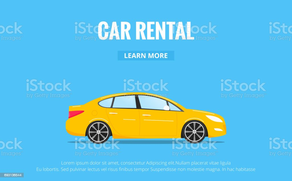 Car rental. Modern automobile in trendy style with typography for advertisement, web projects etc. Banner of car rent concept. vector art illustration