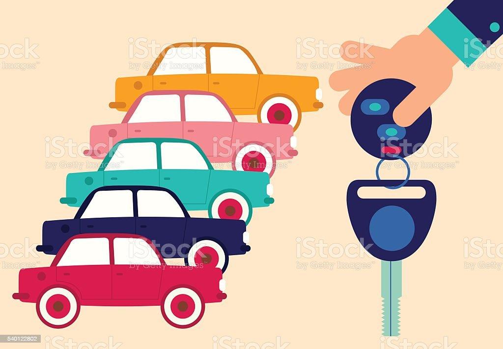 Car Rental vector art illustration