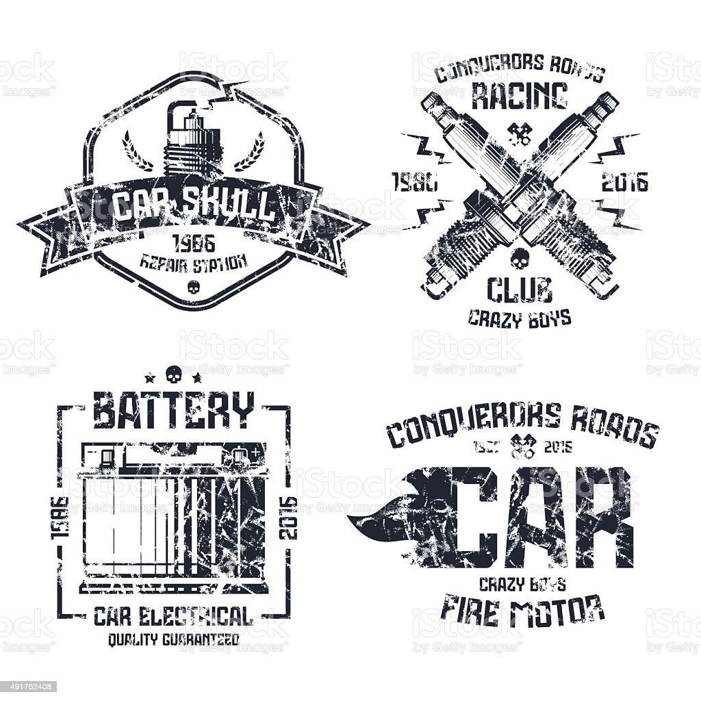 Car repair and racing emblems vector art illustration