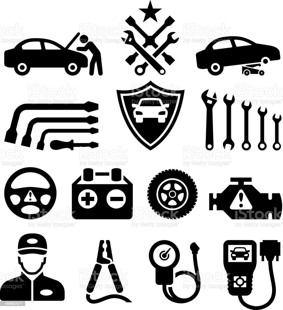 Car Repair black & white royalty free vector icon set vector art illustration