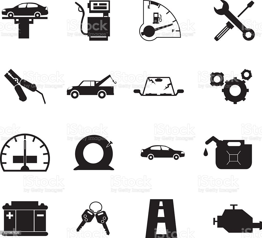 Car Repair Icon Set vector art illustration