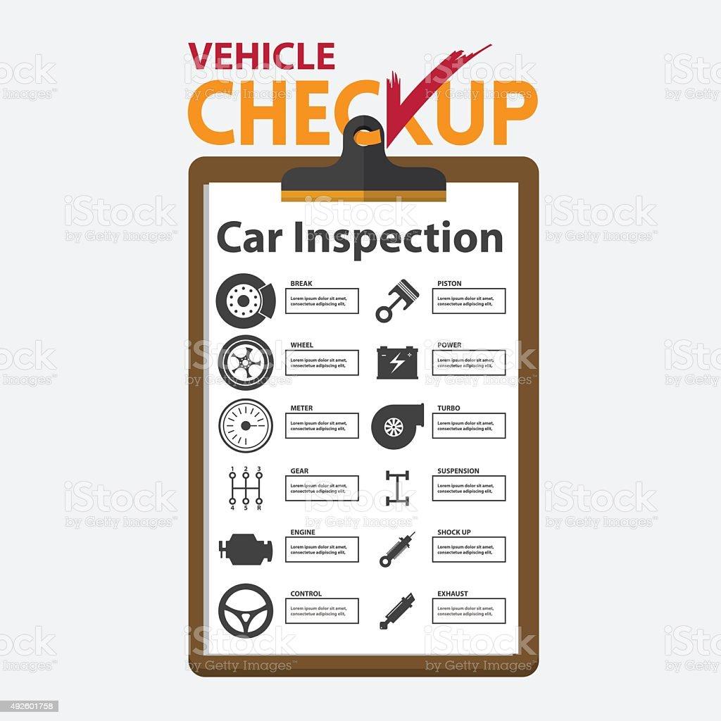 Car repair infographic in flat design. Checkup clipboard. vector art illustration