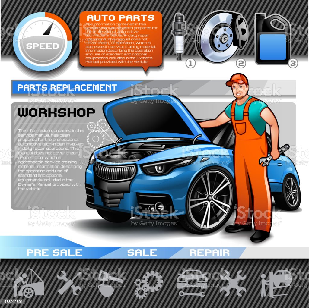 Car repair infographic set vector art illustration
