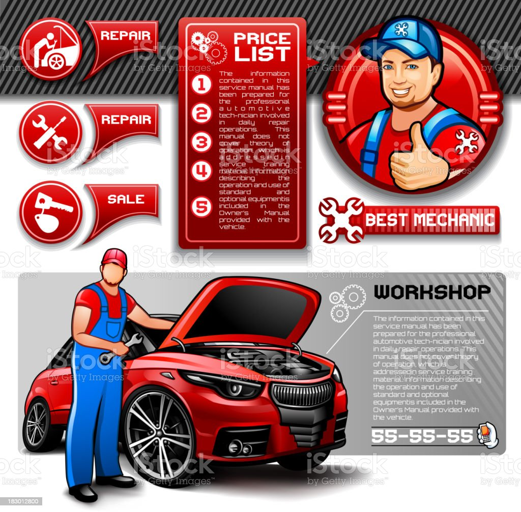 Car repair infographics royalty-free stock vector art