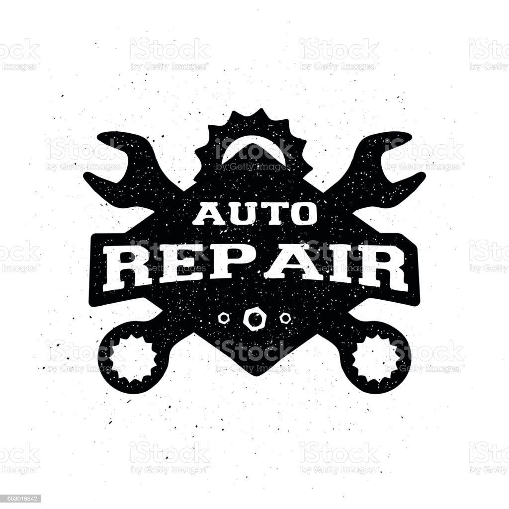 Car repair, monochrome emblem. vector art illustration