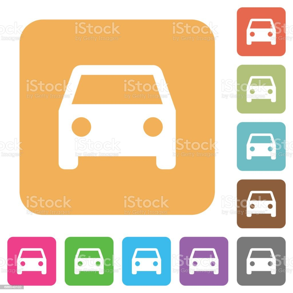 Car rounded square flat icons vector art illustration