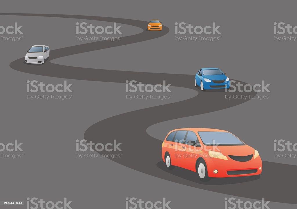 Car running a curved road, vector illustration vector art illustration