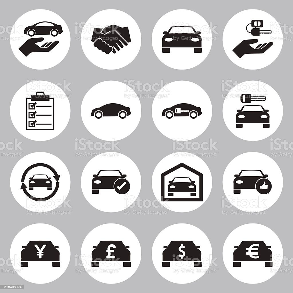 Car Sale and rental car icons set vector art illustration