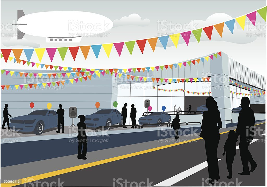 Car sale dealership vector art illustration