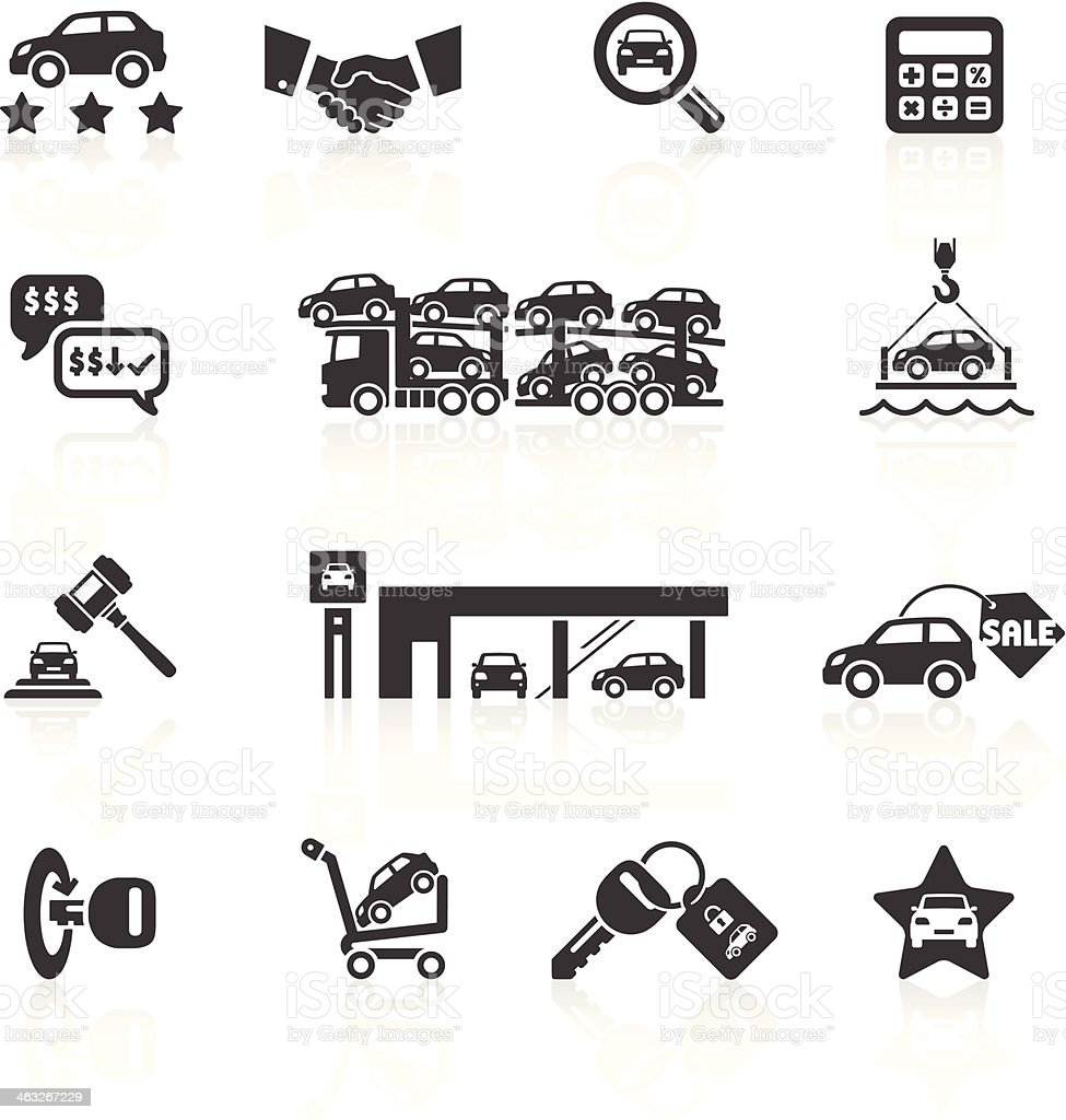 Car Sales & Auto Dealership Icons vector art illustration