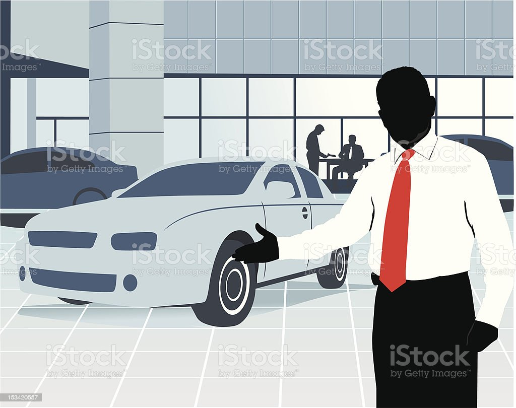 Car salesman at showroom vector art illustration