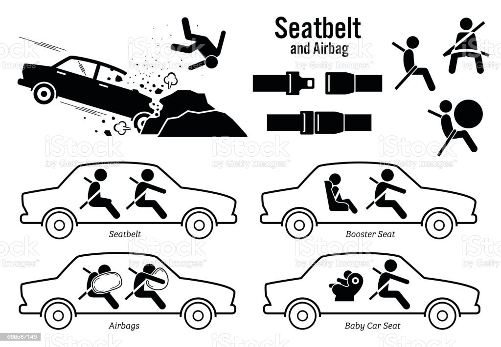 Car Seat Belt and Airbag. vector art illustration