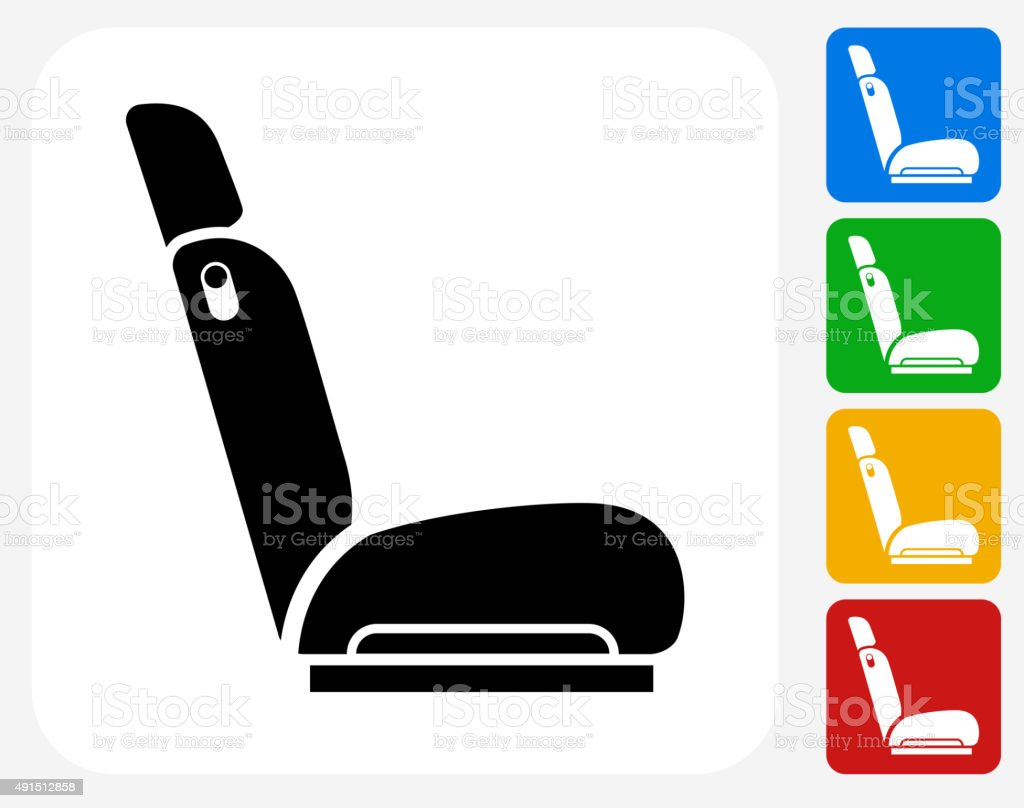 Car Seat Icon Flat Graphic Design vector art illustration