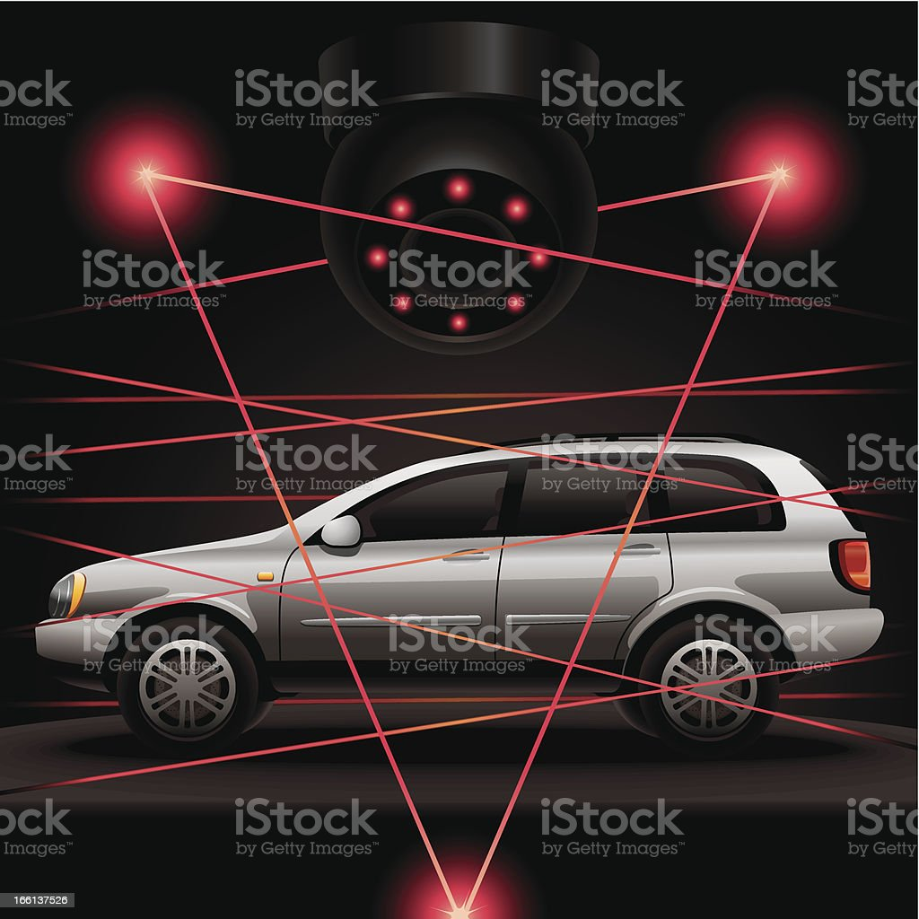 Car security vector art illustration