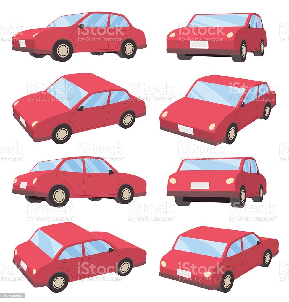 3D car sedan type vector art illustration