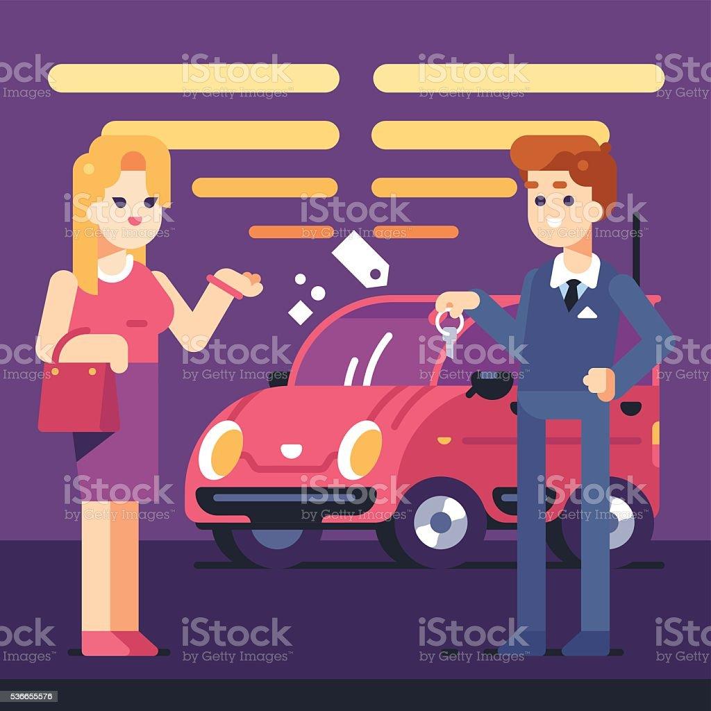 Car Selling vector art illustration