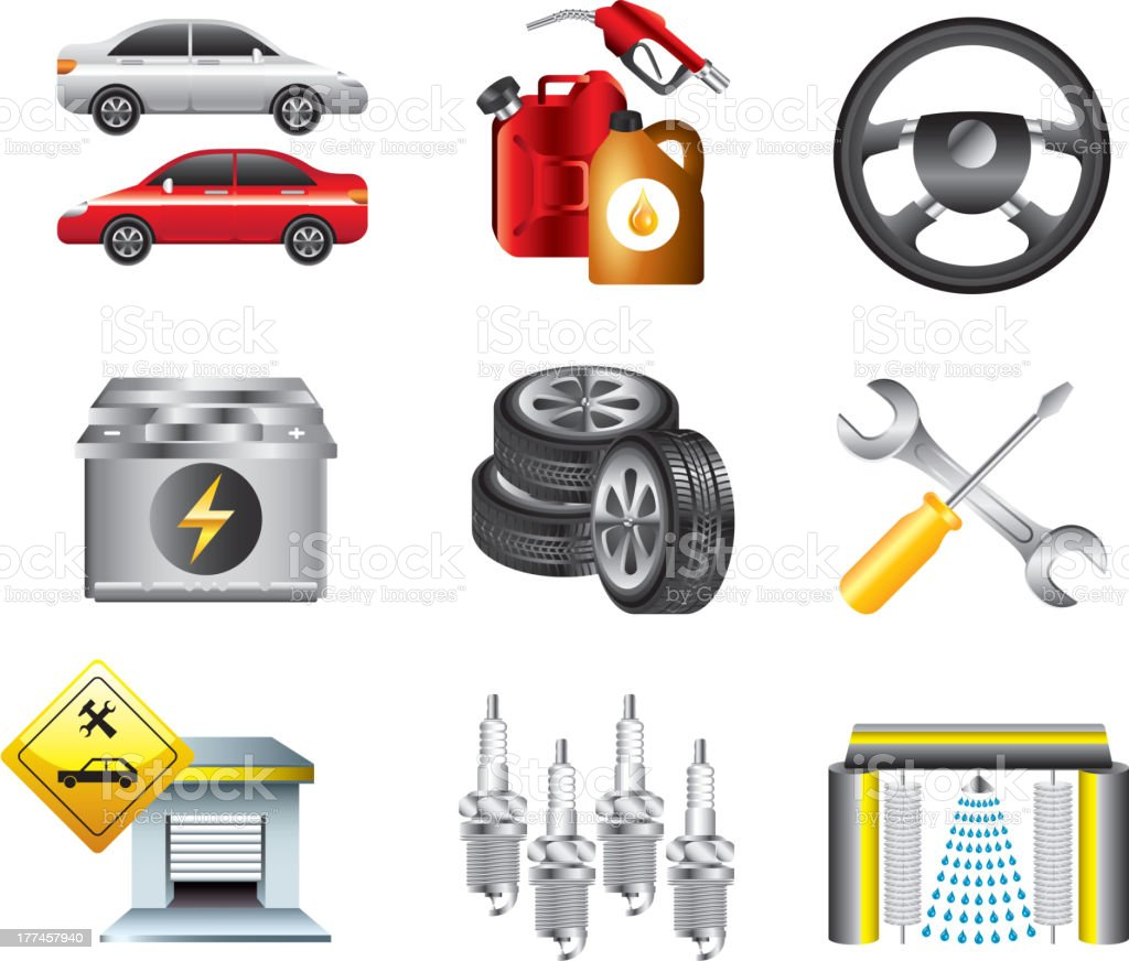 car service and filling station set royalty-free stock vector art