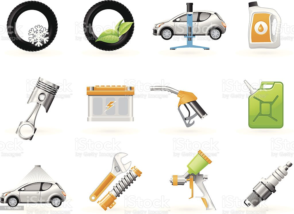 Car service and Repairing icon set royalty-free stock vector art