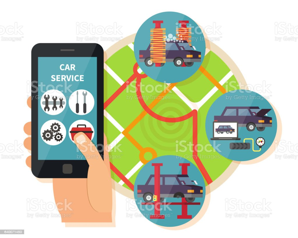 Car service application vector art illustration
