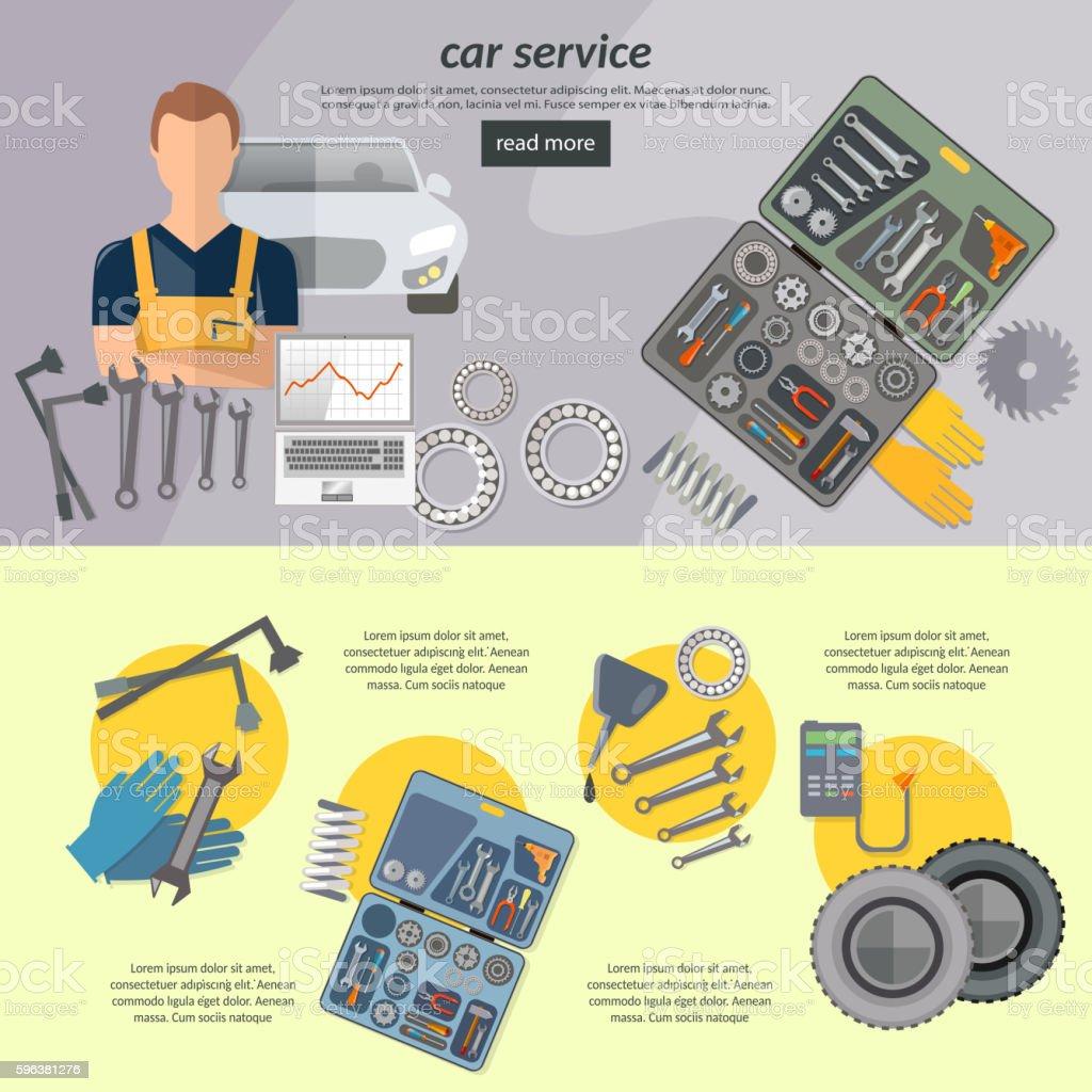 Car service banner auto mechanic tool box car repair vector art illustration