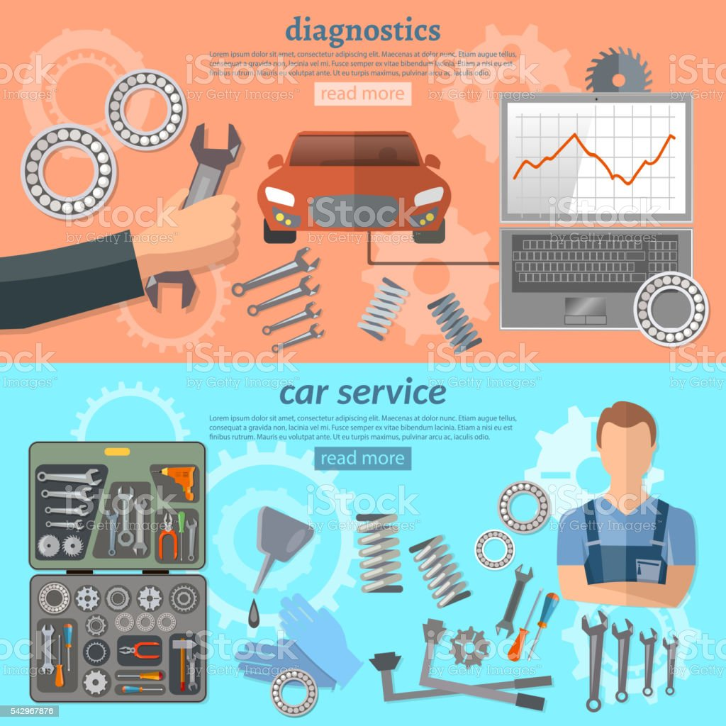 Car service banner mechanic auto service center tool box vector art illustration