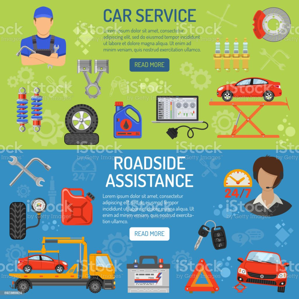 Car Service Banners vector art illustration