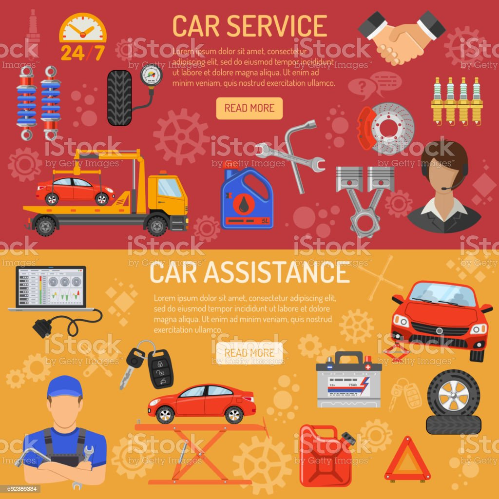 Car Service Banners vector art illustration