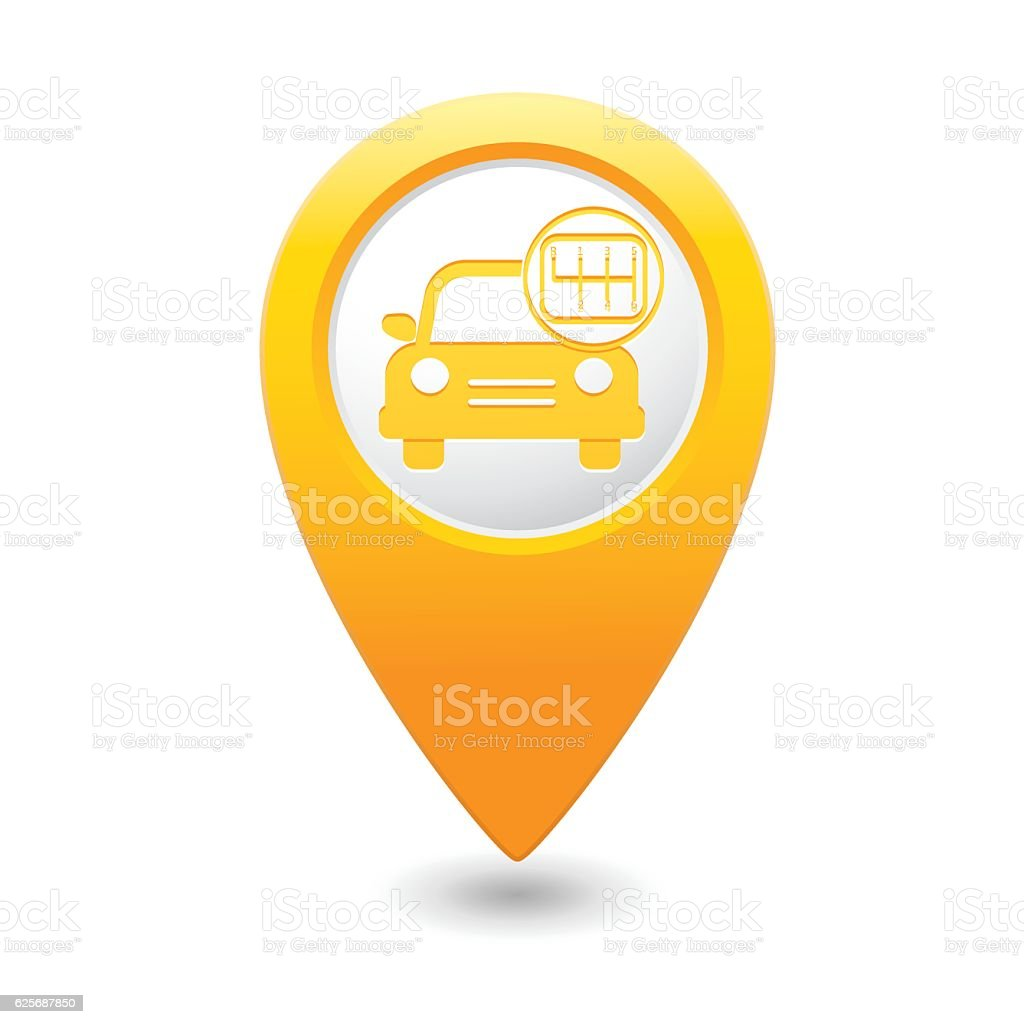 Car service. Car with shift icon vector art illustration