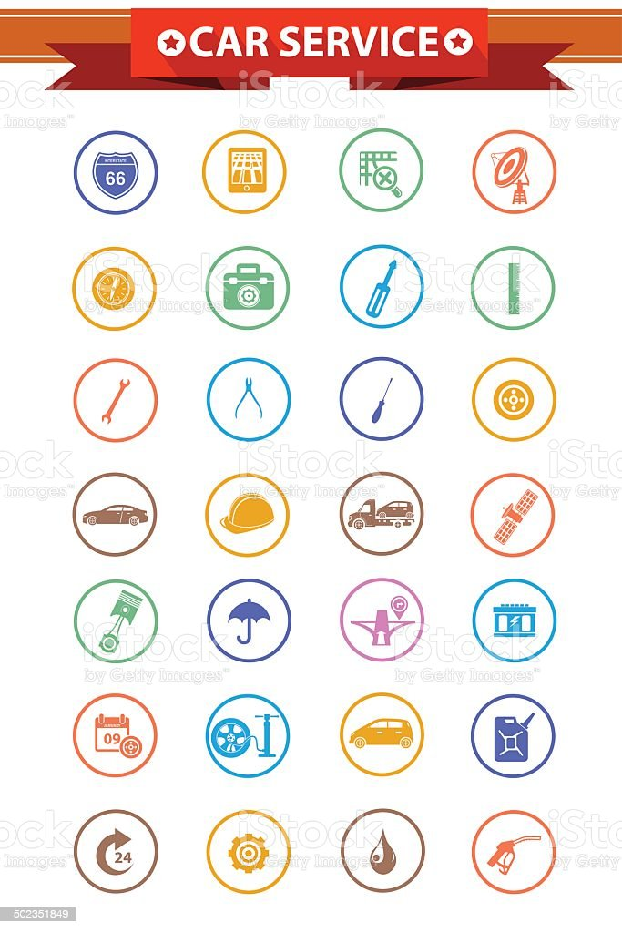 Car service concept icons,Colorful version,vector vector art illustration