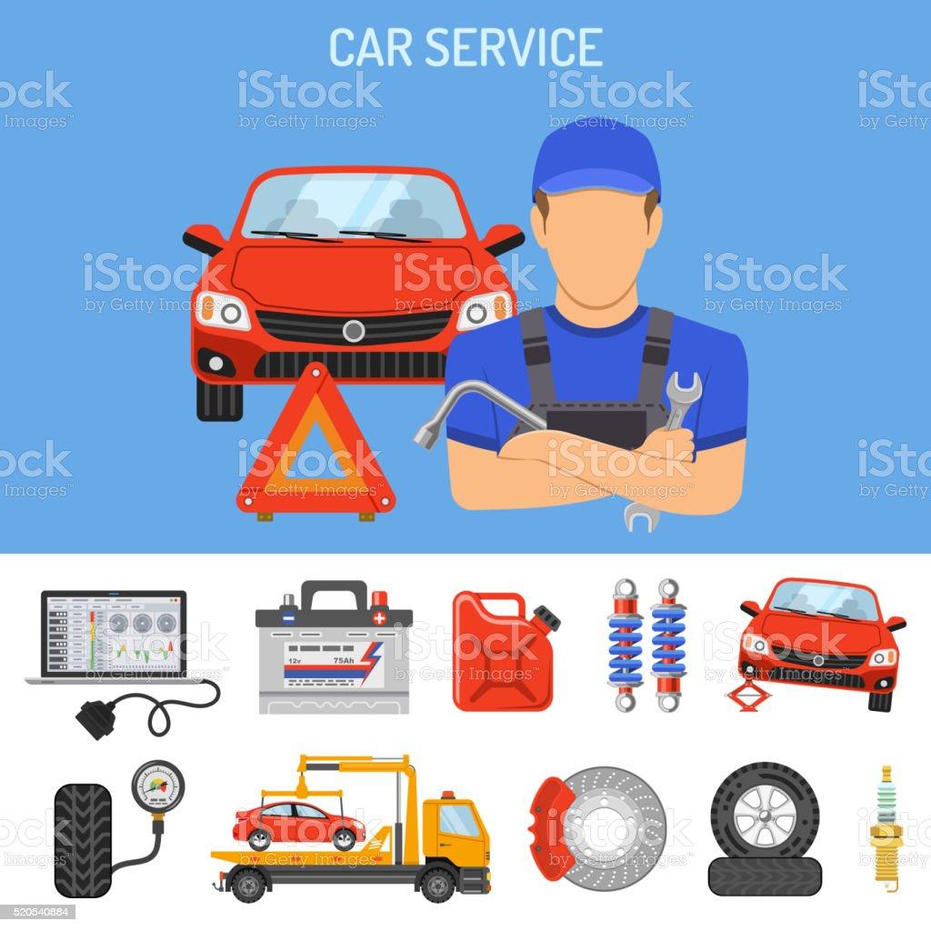 Car Service Concept vector art illustration