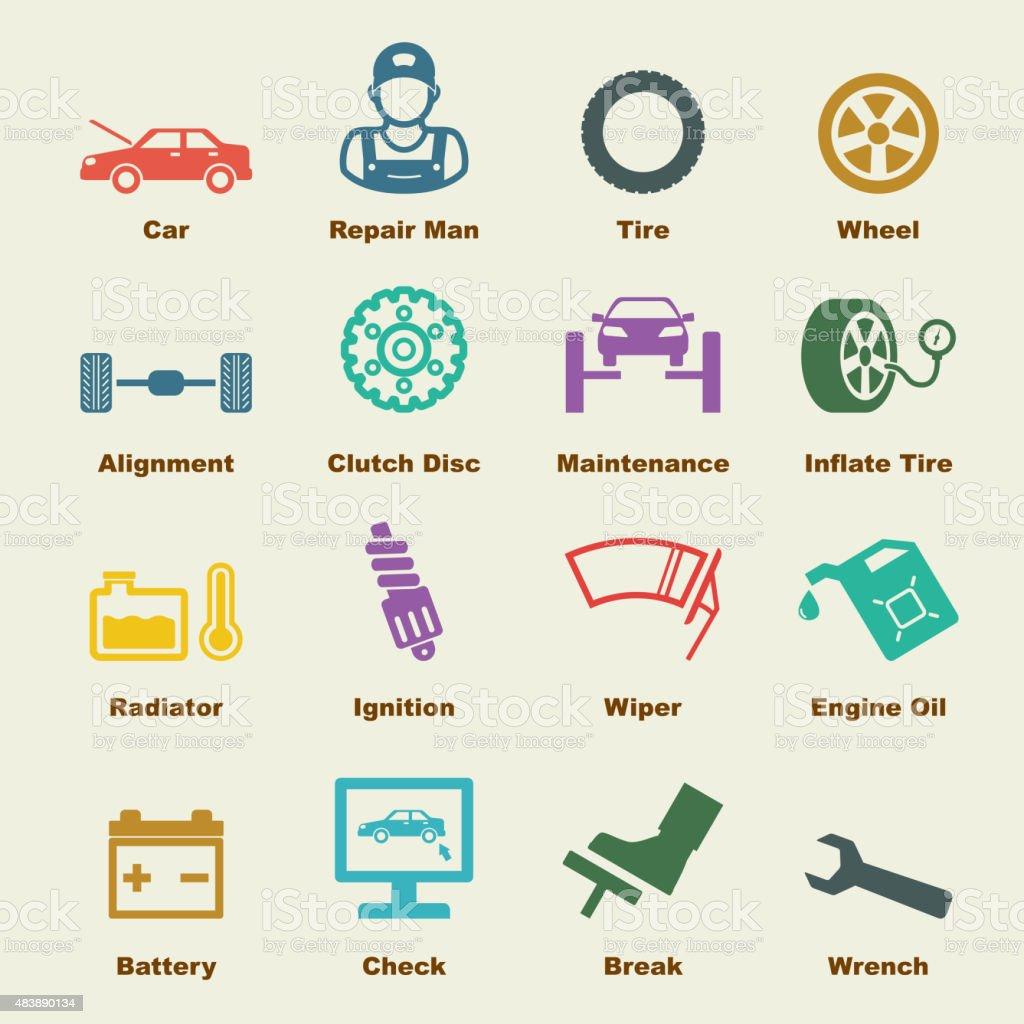 car service elements vector art illustration