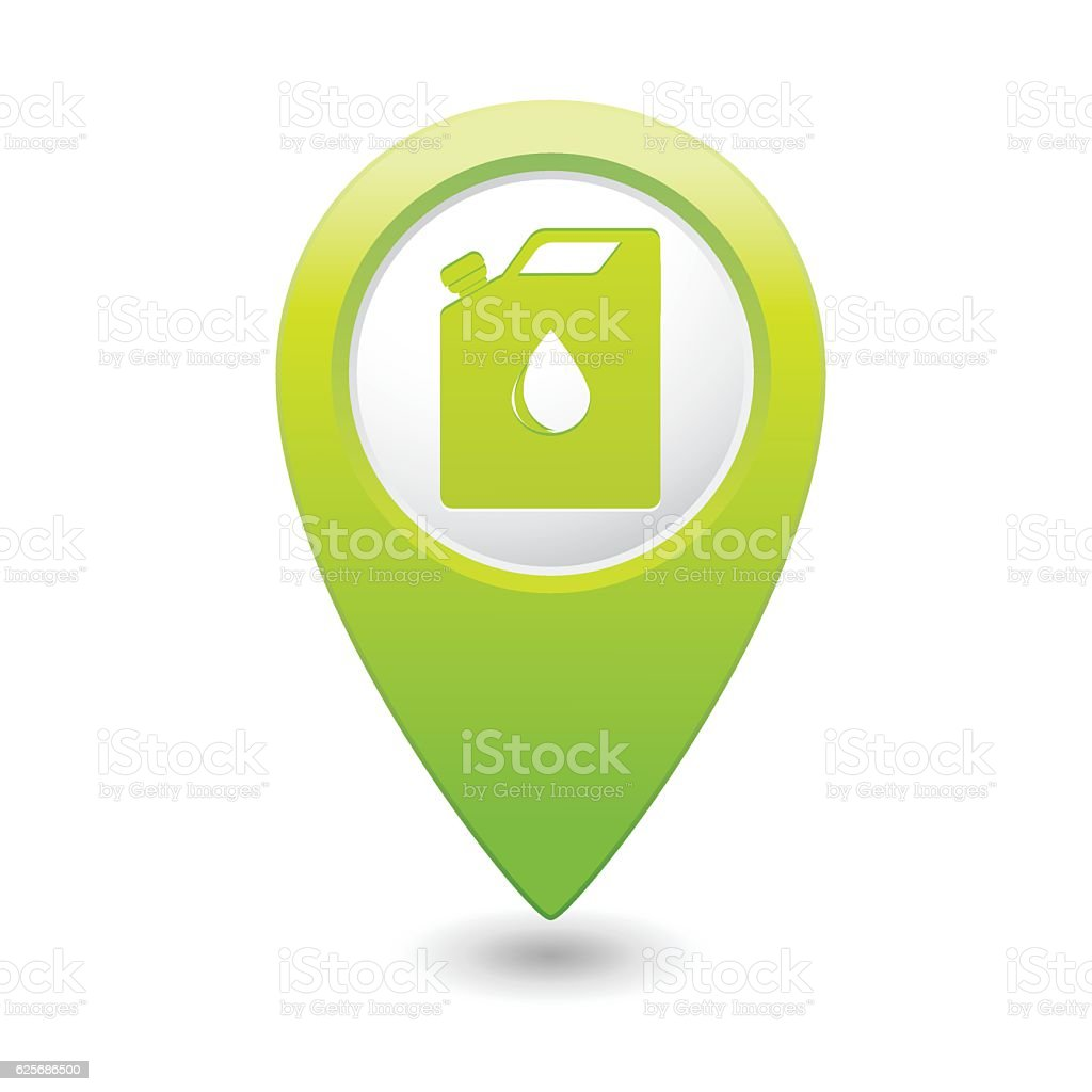 Car service. Gas station icon on map pointer vector art illustration