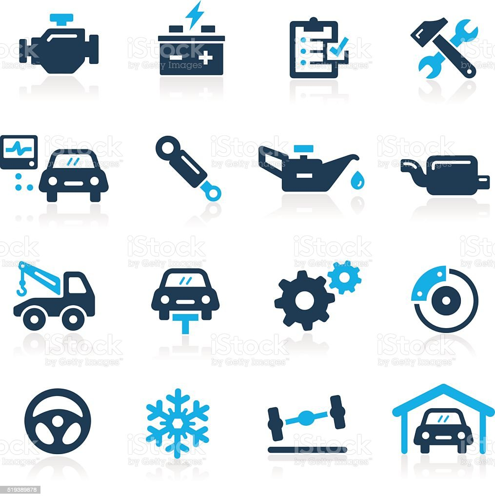Car Service Icons // Azure Series vector art illustration