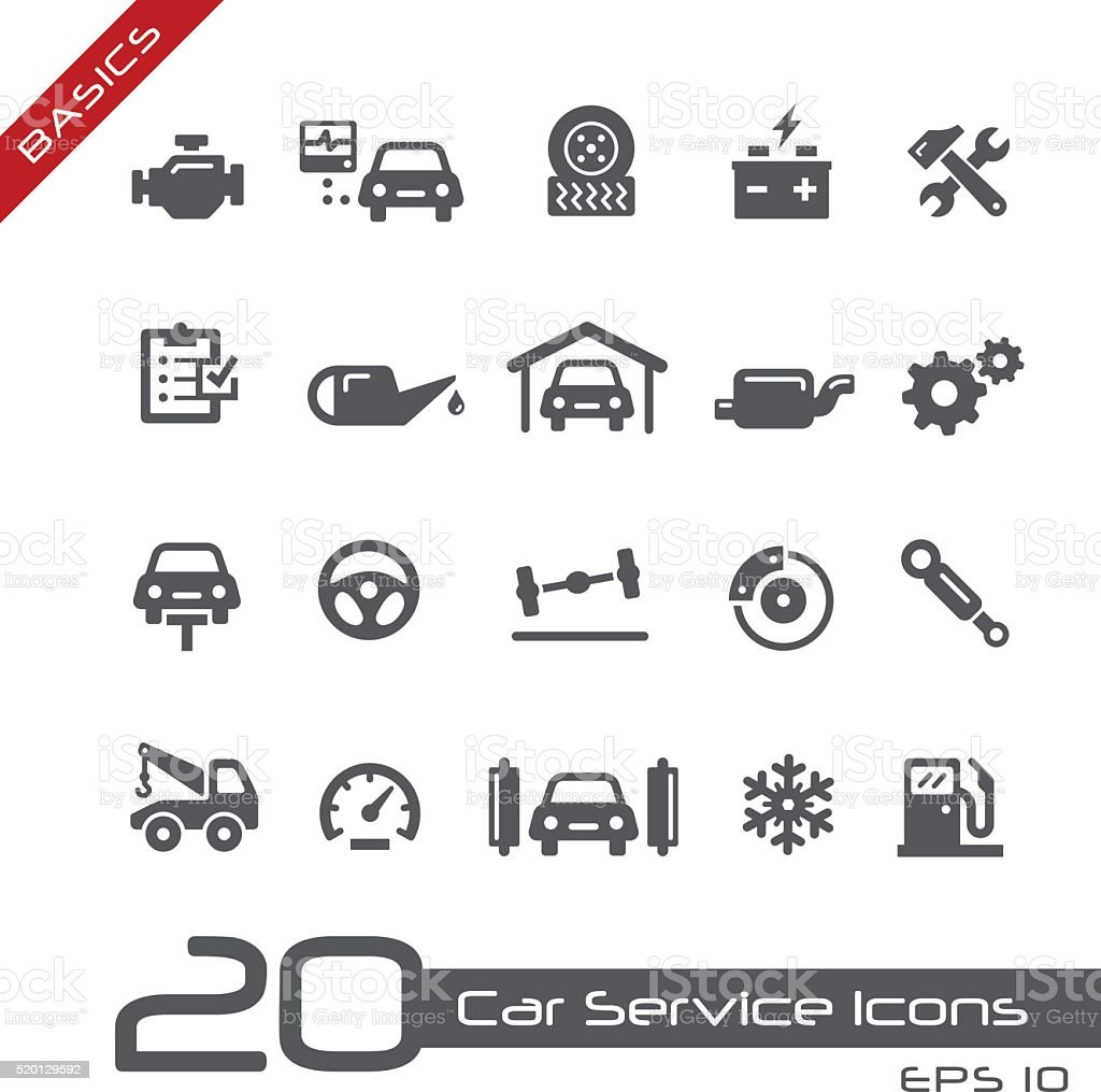 Car Service Icons - Basics vector art illustration